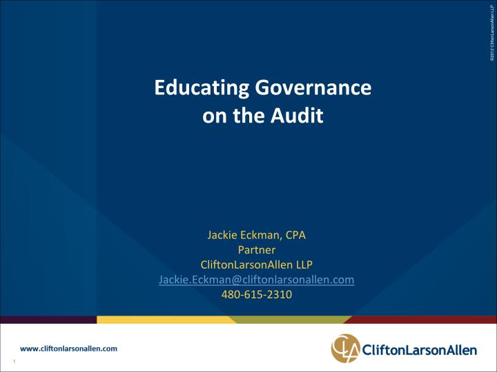 Educating governance on the audit