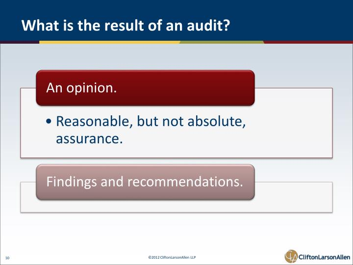 What is the result of an audit?