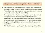 integration vs outsourcing in the transport sector