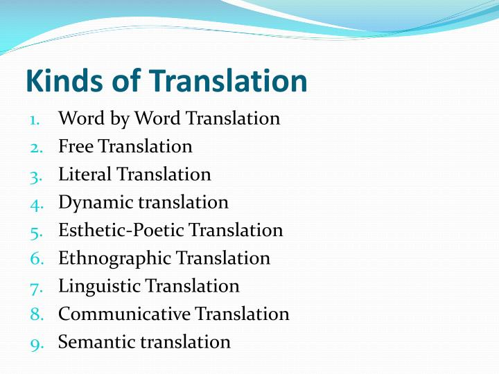 Kinds of Translation