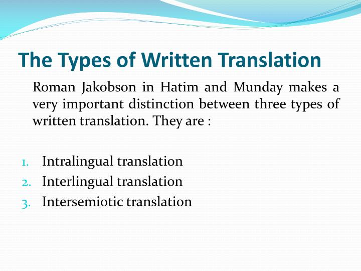 The Types of Written Translation
