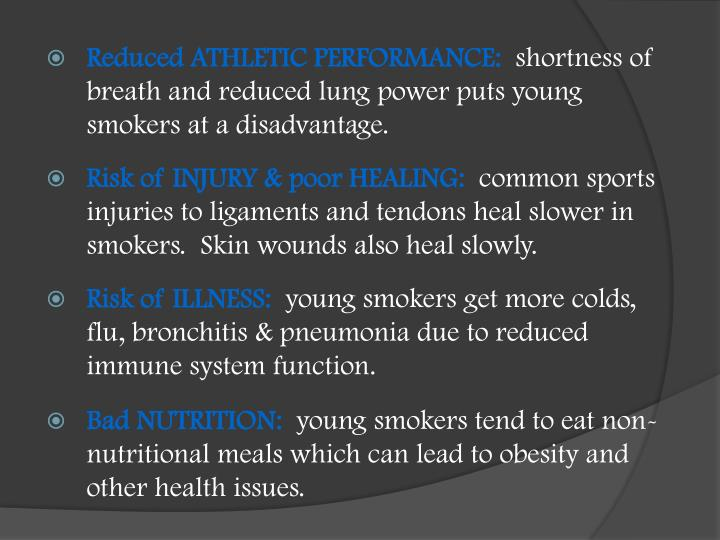 Reduced ATHLETIC PERFORMANCE: