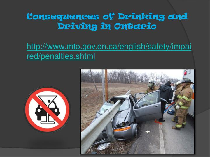 Consequences of Drinking and Driving in Ontario