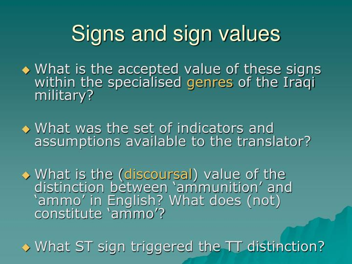 Signs and sign values