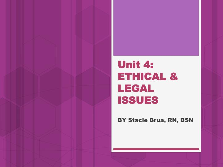 Unit 4 ethical legal issues