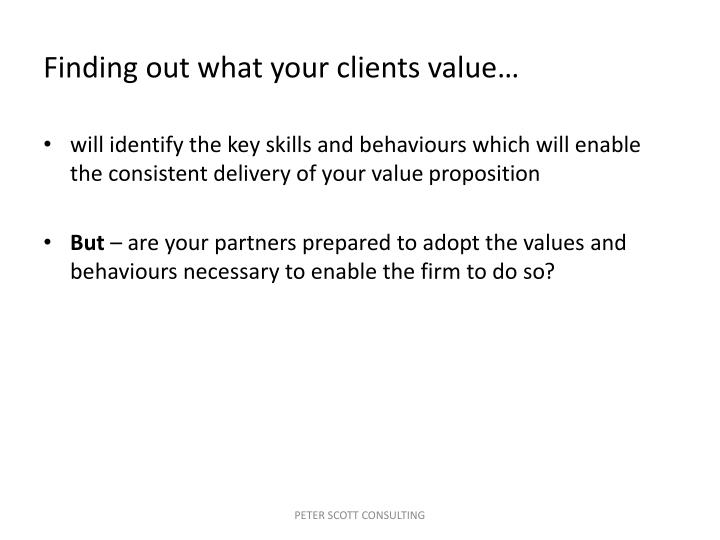 Finding out what your clients value…