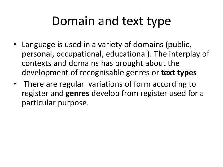 Domain and text type