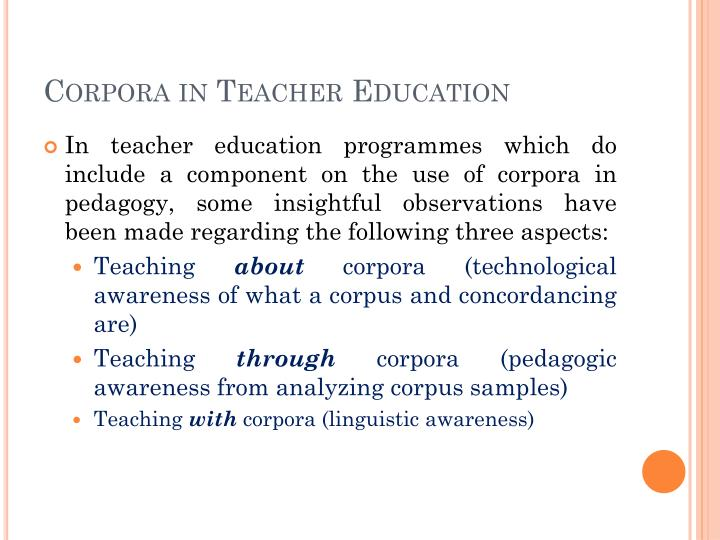Corpora in Teacher Education