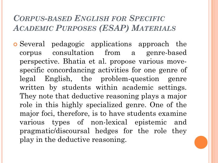 Corpus-based English for Specific Academic Purposes (ESAP) Materials