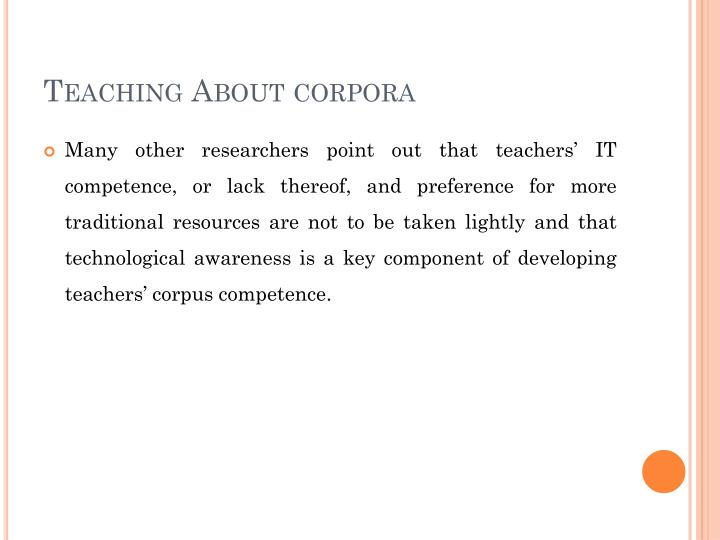 Teaching About corpora