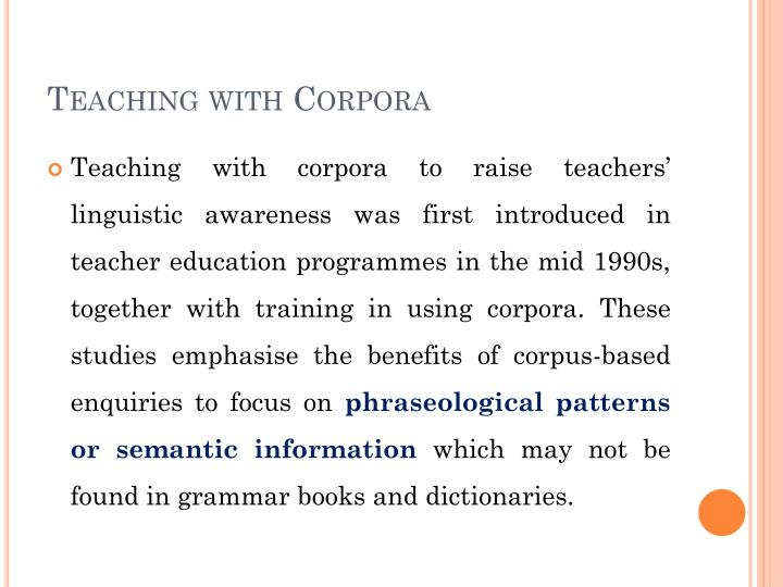 Teaching with Corpora