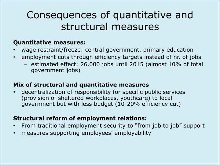 Consequences of quantitative and structural measures