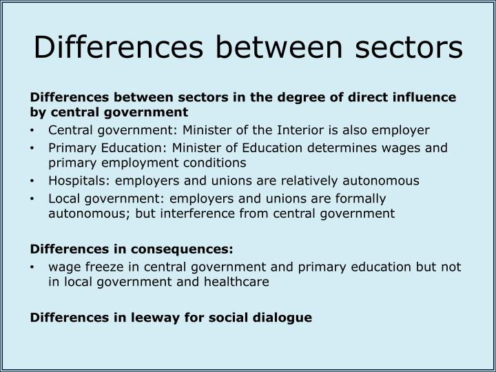 Differences between sectors