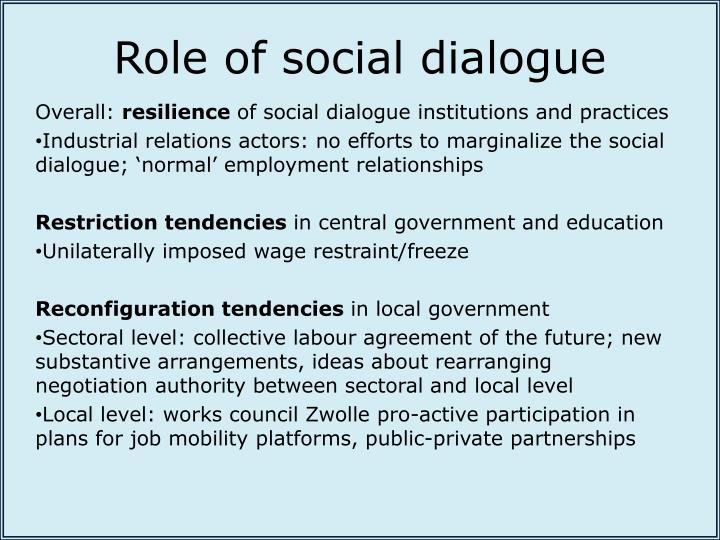 Role of social dialogue