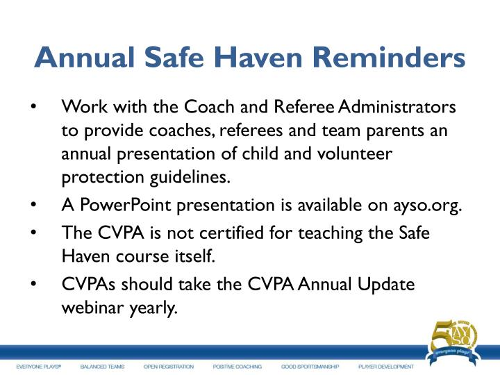Annual Safe Haven Reminders