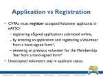 application vs registration