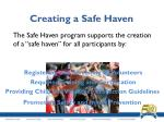 creating a safe haven