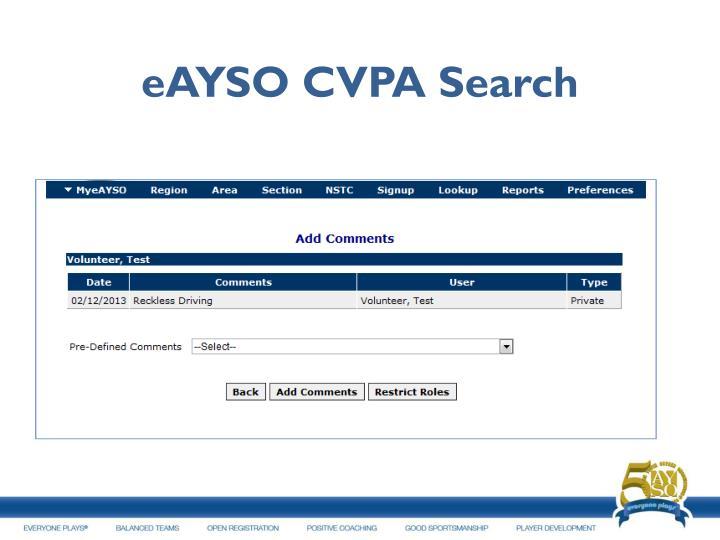 eAYSO CVPA Search