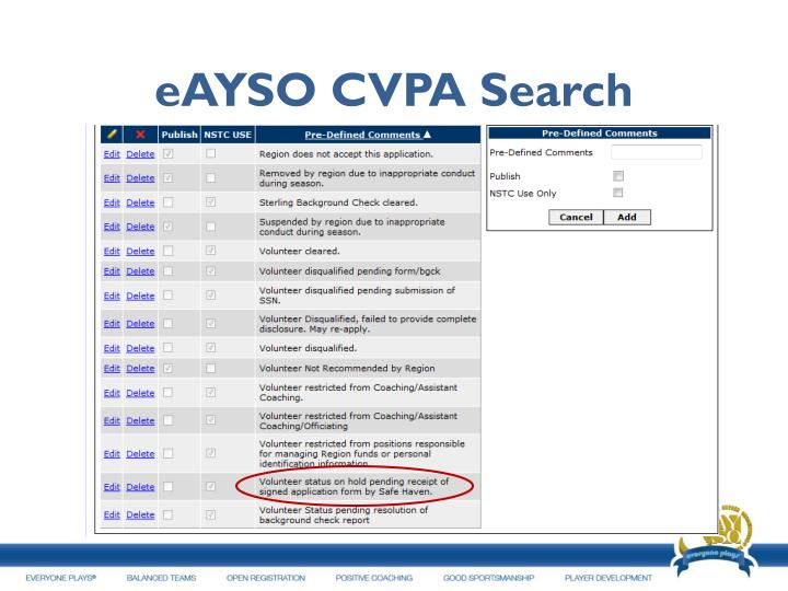 eAYSO CVPA Search