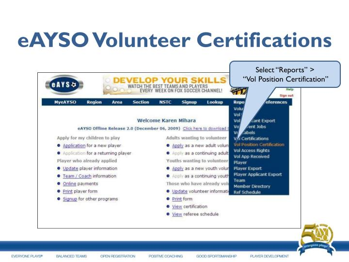 eAYSO Volunteer Certifications