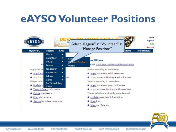 eAYSO Volunteer Positions