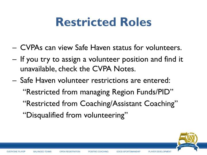Restricted Roles