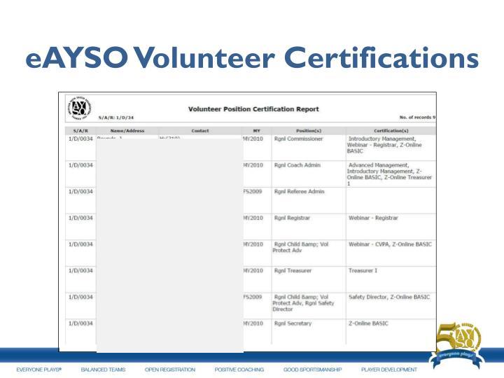 eAYSO Volunteer Certifications
