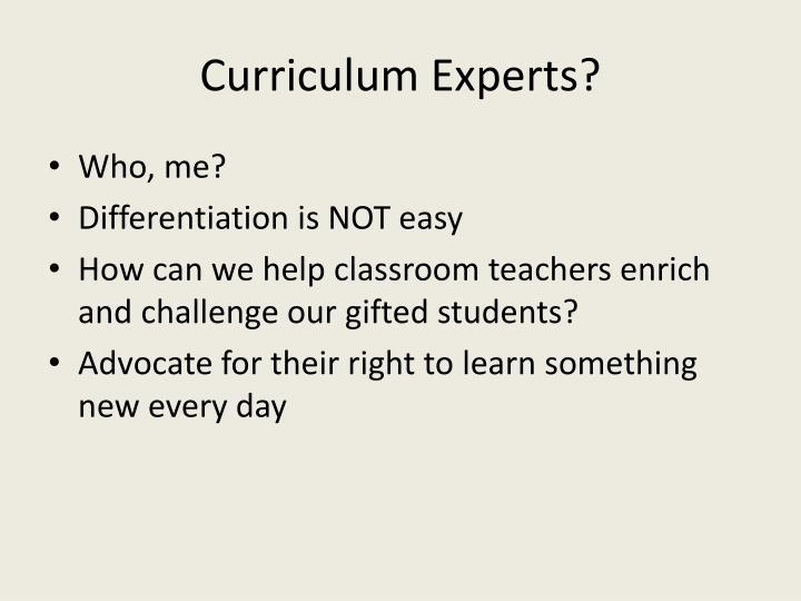 Curriculum Experts?