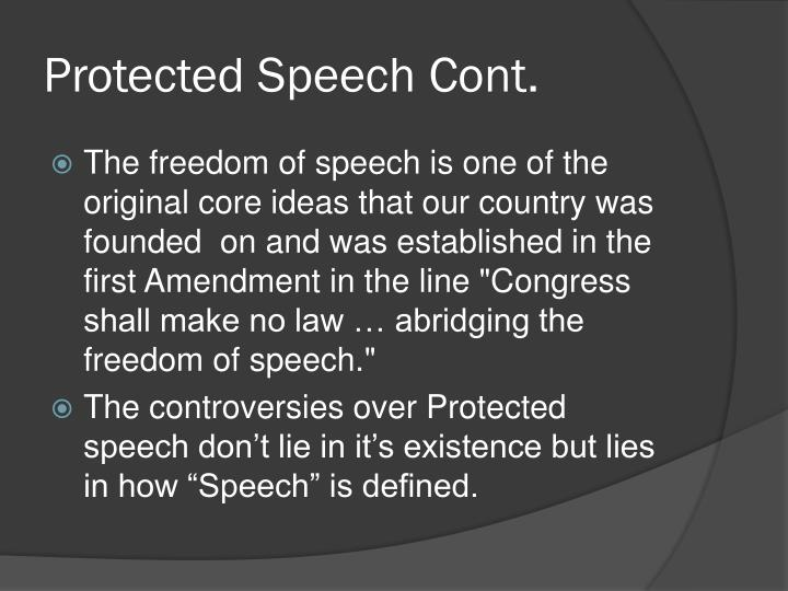 Protected speech cont