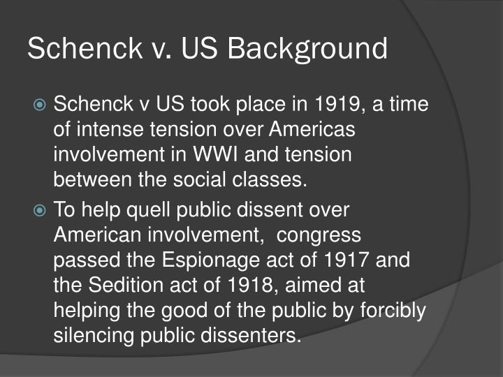 Schenck v. US Background