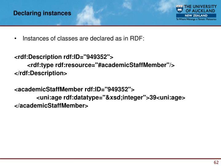 Declaring instances