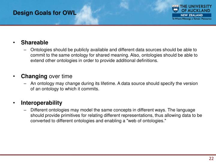 Design Goals for OWL
