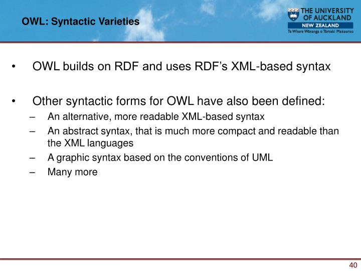 OWL: Syntactic Varieties