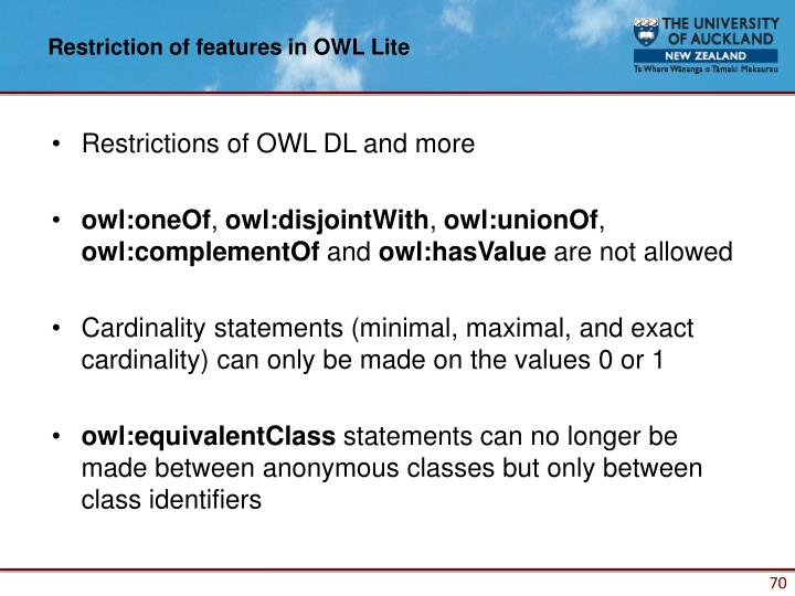 Restriction of features in OWL