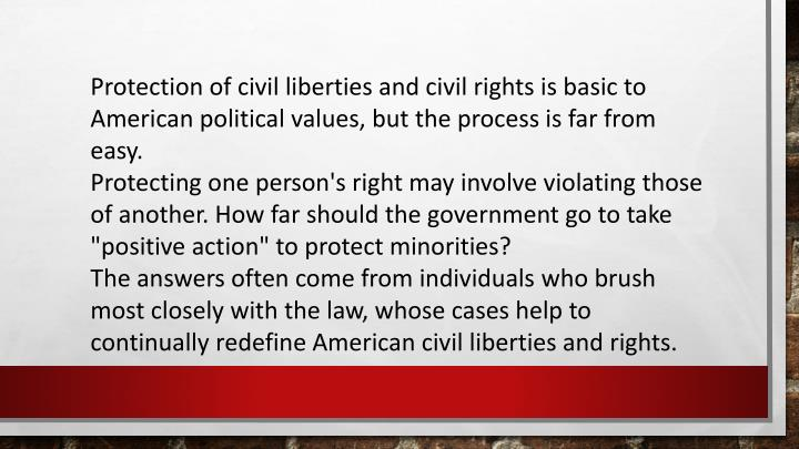 Protection of civil liberties and civil rights is basic to American political values, but the process is far from easy.