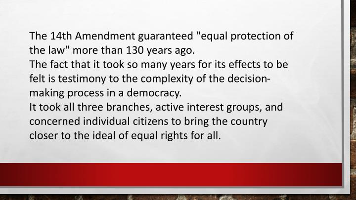 "The 14th Amendment guaranteed ""equal protection of the law"" more than 130 years ago."