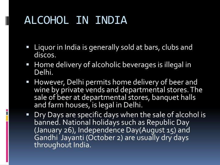 ALCOHOL IN INDIA