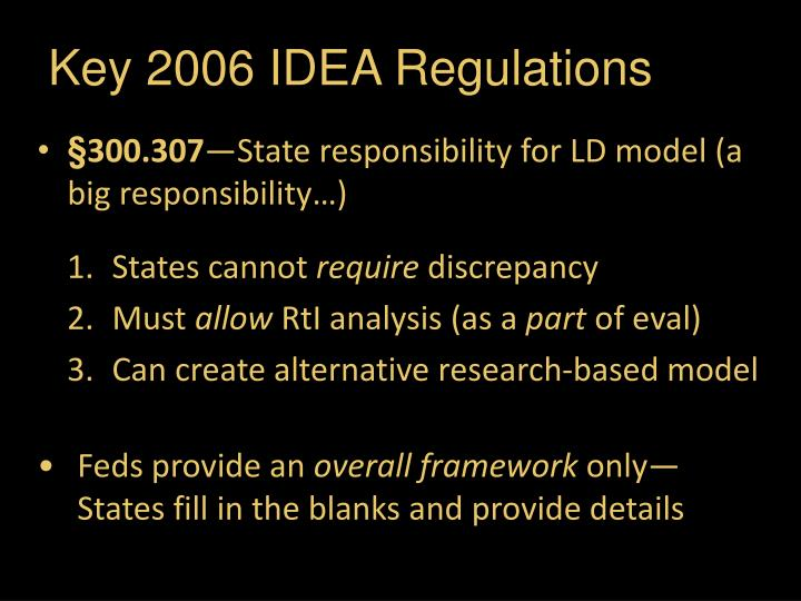 Key 2006 IDEA Regulations