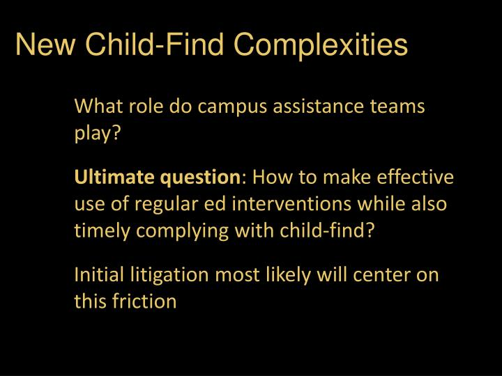 New Child-Find Complexities
