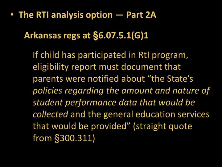 The RTI analysis option — Part 2A