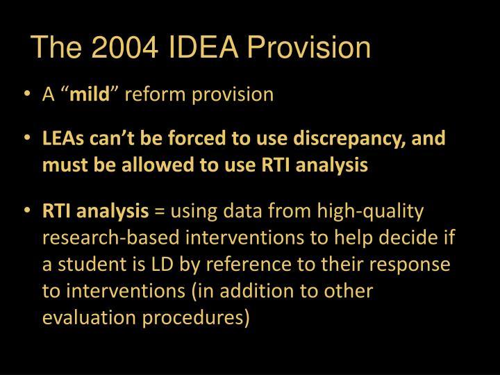 The 2004 IDEA Provision