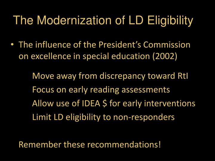 The modernization of ld eligibility1