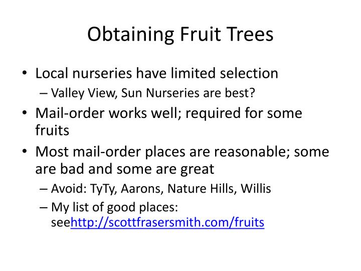 Obtaining Fruit Trees