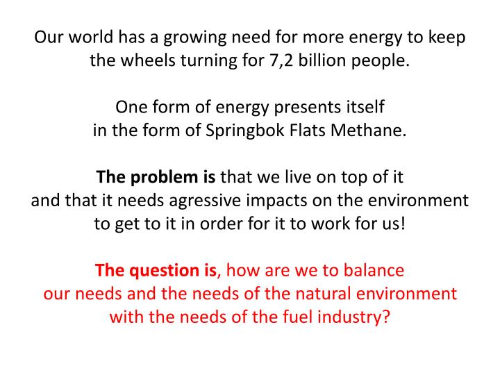 Our world has a growing need for more energy to keep the wheels turning for 7,2 billion people.