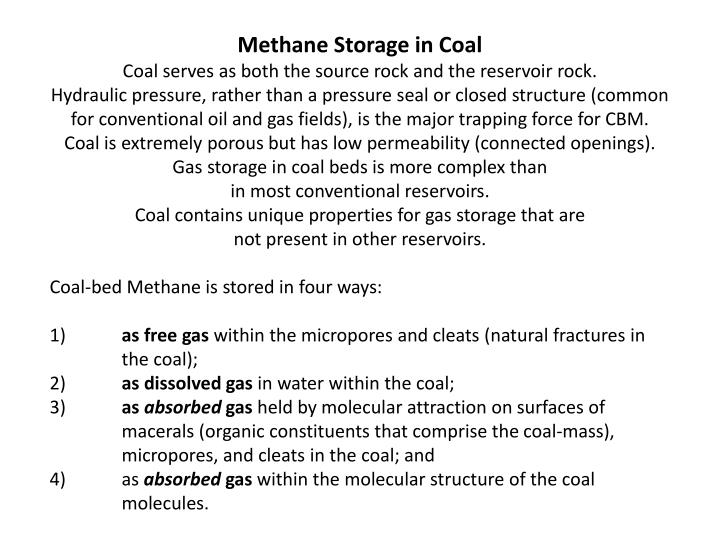 Methane Storage in Coal
