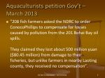 aquaculturists petition gov t march 2013