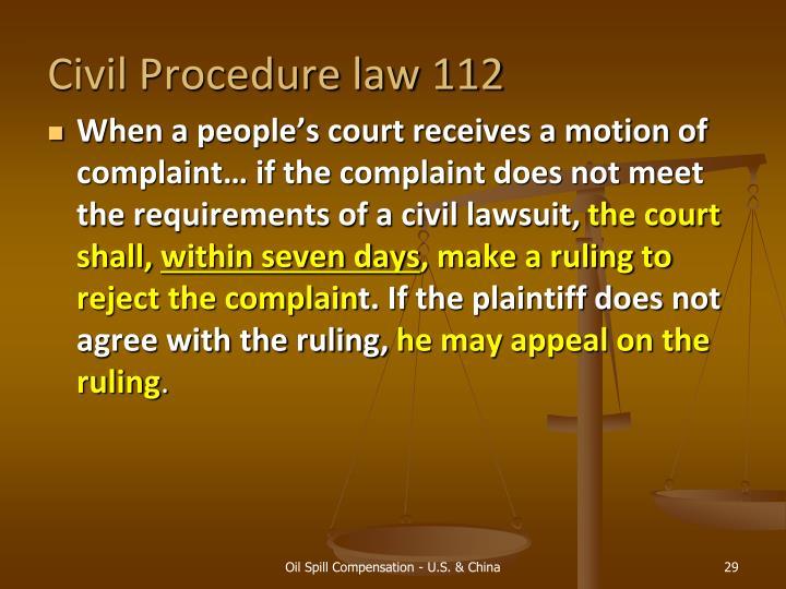 Civil Procedure law 112