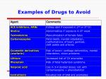 examples of drugs to avoid