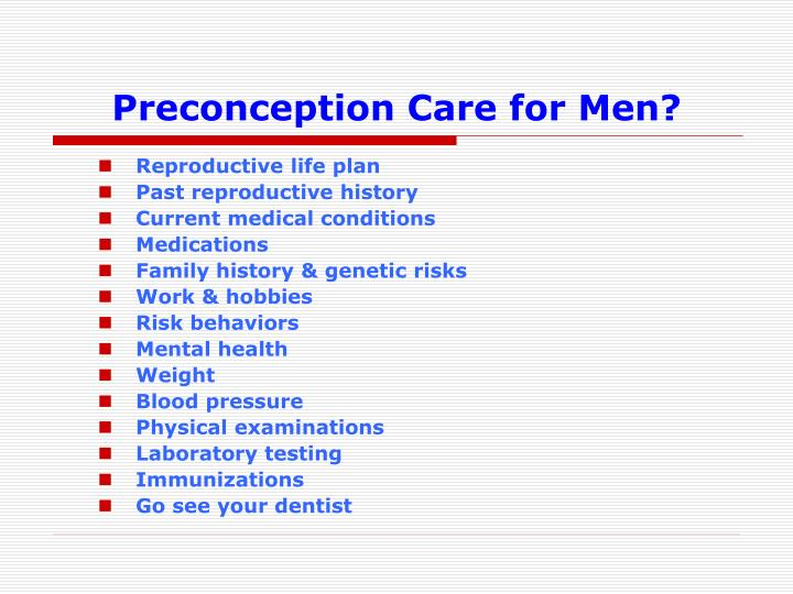 Preconception Care for Men?