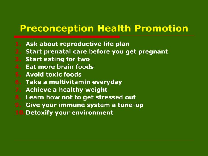 Preconception Health Promotion